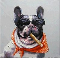 Wholesale Bull Canvas Painting - Framed Bull Dog Smoking Cigar,Hand-painted Modern Cartoon Animals Art Oil Paintings,Home Wall Art On High Quality Canvas Multi sizes 003