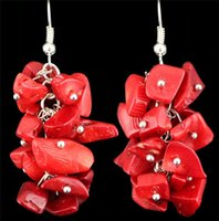 Wholesale Antique Cluster Earrings - Wholesale-Fashion Jewelry Vintage Look Antique Silver Plated Cluster Real Coral Bead Dangle Earrings