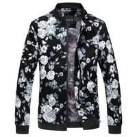 Wholesale Male Jackets Big Collar - Wholesale- Men Bomber Jacket Fashion 2016 Floral Mens Jackets Big Size Stand Collar Long Sleeve Coat Male Stand Collar Leisure Windbreaker