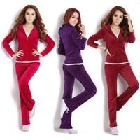 Wholesale Casual Short Sets Women - Women Fashion Casual Sport Velvet Clothing Set Clothes&Pants Jogging Training Suit Vestidos Femininos