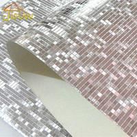 ingrosso carta da parati di lusso di oro-Commercio all'ingrosso- Carta da parati a mosaico di lusso Glitter Carta da parati a parete di fondo Carta da parati in lamina d'oro Rivestimento per pareti in argento a soffitto Papel De Parede