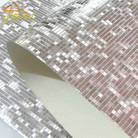 обои на стену оптовых-Wholesale-  Glitter Mosaic Wallpaper Background Wall Wallpaper Gold Foil Wallpaper Silver Ceiling Wallcovering Papel De Parede