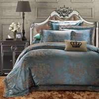 Wholesale Double Set 4pc - Wholesale-European Style Luxury. Cotton Satin Jacquard Double 4pc Bedding Set Suit Bed flat Sheet Duvet Cover Pillowcase King queen