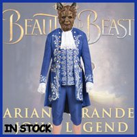 Wholesale Beast Man Costume - Beauty and the Beast Costume Beast Cosplay Blue Gentleman Outfit Adult Men Halloween Carnival Clothing