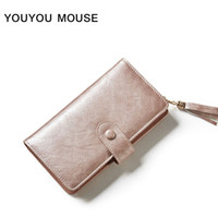 YOUYOU MOUSE Création créative Hasp Long Wallet Solid Tassel Women Wallet Large Capacity 3 Fold Multi-Card Fashion Coin Purse
