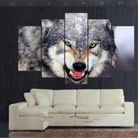 Wholesale Wallpaper Abstract Oil Paintings - Free Shipping New Arrival Hand-painted 5 Piece Modern Canvas Oil Painting Wall Art Home Decoration Snarling Gray Wolf Wallpaper Wolves