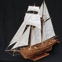 Wholesale Boat Models Wood - NIDALE model Free shipping Scale 1 96 Classics Antique wooden sail boat model kits HARVEY 1847 wooden Ship Assembly kit