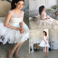 Wholesale Cute Sexy Mini Wedding Dresses - Short Summer Wedding Dresses Lace Applique Cute Sexy Wedding Dress Beaded A Line Fat Brides Gowns