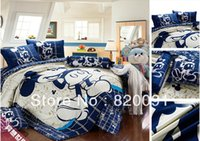 Wholesale Cotton Comforter Quilt - Wholesale-New Design Happy Mickey Mouse Bedding Bed Set Duvet Comforter Quilt Cover Set Kids 3 4Piece Twin Full Queen King Navy Blue