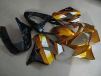 zx9r gold großhandel-Hochwertiger Kunststoffverkleidungssatz für Kawasaki Ninja ZX9R 2002 2003 Gold Schwarz Verkleidungssatz ZX9R 02 03 OT18
