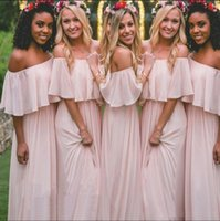 robes de mousseline de soie en mousseline de soie achat en gros de-2017 Blush Pink Chiffon Off the Shoulder Robes de demoiselle d'honneur Summer Beach Boho bretelles longueur de plancher upe Maid Of Honor Gowns Wedding Wear