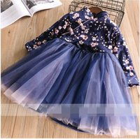 Wholesale Girls Clubbing Clothes - Winter New Year Baby Girls Dresses club Splice gauze Thick long sleeve Princess Dress Children Clothing 2-7T 320095
