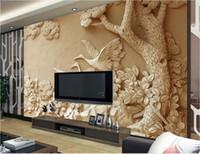 papel de parede não tecido murais venda por atacado-Papel de parede não tecido luxus personalizado 3d murais de parede Relevo árvores papéis de parede 3d papéis de parede para papel de parede paisagem da parede