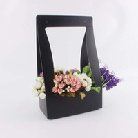 Display Flower packaging gift baskets - New flower wrapping paper Hand held gift box Folding rectangular packaging flower basket home decor party supplies