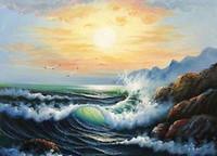 ingrosso pittura a olio d'onda-Incorniciato, incantevole vista sul mare all'alba con le onde dell'oceano rocce degli uccelli marini, Artigianato pittura a olio di arte Su tela Lino in cotone Multi formati, R214 #