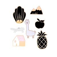 Wholesale American Girl Houses - Badges for Clothes Brooch Enamel Pins Cartoon Cute Alpaca Apple Pineapple Mountain House Lapel Pin Collar For Women Girl Pins