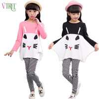 Wholesale Teenage Suits For Boys - Wholesale- V-TREE girls clothing set full shirt+leggings outfits girls clothes sets for teenage kids cartoon girl clothes suit for girls
