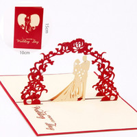 3D Inviti di Nozze Carte con busta Hollow Hollow Palace Paper Folded Bride Accessori Manuale Handmade Cartolina di Natale Decorazione
