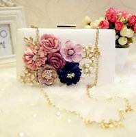 PU pac bag - Factory direct handbags high end stereo flower woman hand bag elegant lady diamond Dinner Bag party dress collocation flower chain small pac