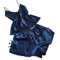 Wholesale Xxl Sexy Women Pajamas - Wholesale- Mileegirl Sexy V-Neck Rayon Silk Pajama Sets,Plus Size XXL Women Lace Spaghetti Strap Sleeveless Sleepwear Pajamas Pyjama Femme