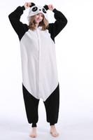 pijamas kigurumi trajes de animales al por mayor-Panda Stock Cálido Unicornio Kigurumi Pijamas Trajes de Animales Cosplay Disfraz de Halloween Ropa Para Adultos Mono de Dibujos Animados Ropa de Dormir de Animales Unisex