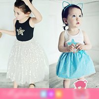 Wholesale Tops For Tutu Skirts - Summer 2017 Princess Girls Sets Outwear Outfits Sequins Star Tee Tops + Glitter Lace Tutu Skirts 2pcs Set Suits For Girl White Black A6839