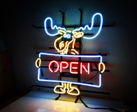 Wholesale Deer Neon Sign - New Tat tire Neon Beer Sign Bar Sign Real Glass Neon Light Beer Sign MEX 704 open deer 20x18 001