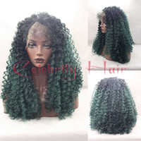 Wholesale Synthetic Swiss Lace Wig - Two tone black ombre green synthetic hair lace front wig 150%density 24inch picture actural natural looking full lace swiss lace
