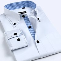 Hohe Qualität Patchwork Plaid Shirts männer Klassischen Stil Kleidung Herren Einfarbig Casual Shirts Herren Business Formal Dress Shirts