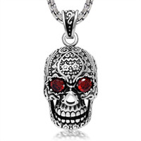 Wholesale Cheap Stone Necklaces - BIKER big skull gemstone red stone stainless steel pendant cool punk motocyle silver style cheap wholesale factory jewelry for free shipping