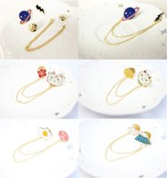 Wholesale Ladies Shirts Wholesale China - cartoon badge pins alloy boutonniere stick with chain, detachable brooch pins sets, for lady, girls, kid's shirt, bags and hat, price cheap