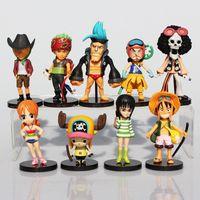 Wholesale Brook Figure - 9pcs set One Piece Figure Luffy Roronoa Zoro Sanji Chopper Robin Brook  Nami Figures Action Model Toys Dolls