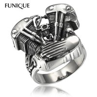 Wholesale Vintage Engines - FUNIQUE 2016 New Cool Biker Ring men 316L Stainless Steel Rings Motorcycle Engine Vintage Gothic Rock Punk Jewelry Men Ring