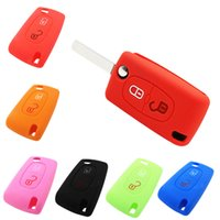 Wholesale Peugeot Silicone - Wih Emblems Silicone Case Remote Cover 2 Buttons Folding Key for Peugeot 208 207 3008 308 RCZ 408 2008 407 307 AUP_40J