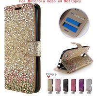 Wholesale Diamonds Wallets - For Motorola moto e4 Metropcs e4 plus For samsung galaxy J7 prime Metropcs Diamond Rhinestone bling wallet case credit card slots OPP bags