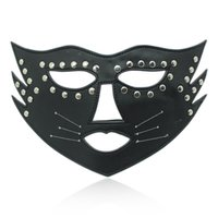 Wholesale Leather Blindfolds - HOT TIEM PU Leather Cat Face Beard Blindfold Mask Eye Mask for Halloween Stage Props BDSM Kit ,Party Fun Sex Toys