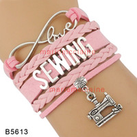 Wholesale Sewing Machine Silver Charms - (10 Pieces Lot) Infinity Love Sewing Bracelet Sewing Machines Charm Bracelet Multilayer Leather Wrap Custom Any Theme drop shipping