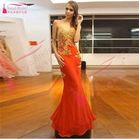 Meerjungfrau Elegant Red Prom Kleider Chiffon Gold Spitze Appliques Backless Maxi Abendkleider Sweetheart Lange Party Kleider Sexy Kleid