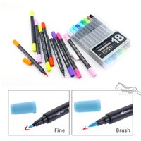 Wholesale Brush Tip Pens - Art and Graphic Drawing Manga Water Based Ink Twin Tip Brushand Fine Tip Sketch Marker Pen 12 18 24 Colors  SET Brush Pen