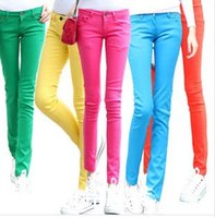 Wholesale Candy Colored Jeans - Wholesale- spring summer women casual thin jeans fashion Candy colors jeans pant free shipping 1Kz8