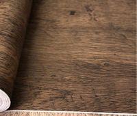 Wholesale Vintage Wood Wardrobe - kitchen Pvc waterproof wallpaper wardrobe furniture stickers kitchen cabinet door decor Vintage wood stickers 45CMX5M w1905