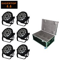 Wholesale Bulb Clamp - 6in1 Road Case Packing 18x18W RBGAW Violet 6 Color Silent Stage Led Par Cans 4 Button LCD Display No Noise Support Hanging Clamp