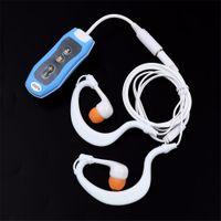 Wholesale mp3 player mini clip 4gb resale online - Mini Clip Swimming Diving Waterproof MP3 Player headset GB Underwater Sport MP3 Music Players FM Radio Headphones