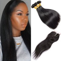 3 paquets Soie Straight Ensemble de cheveux humains avec fermeture à lacets Unprocessed Double Drawn Weaves Natural Black 7a Virgin Hair With Closure