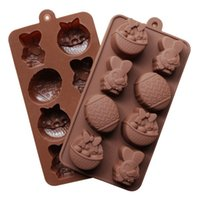 Wholesale Easter Silicone Moulds - Easter Chocolate Mould DIY Baking Molds Cup Silicone Rubber Bakeware Tools Soap Mold Cake Dessert Candy Ice Tray Children Toys Gift Free DHL