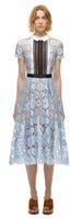 vestidos de colar de retrato venda por atacado-Manga curta Hot Verão Auto Retrato Estilo Rendas Patchwork Crochet Runway Vestido Novo 2019 Mulheres Céu Azul Turn-Down Collar Longo Vestidos de Festa