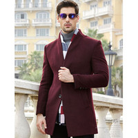 Wholesale custom trench coats - Wholesale- Custom-made Winter wine Men Wool Long Coat Men Long Trench Slim Fit Overcoat High Quality Men Coats Fashion Trench Outerwear