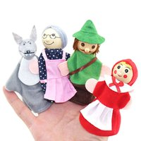 Wholesale Fairy Ride - Wholesale-Little Red Riding Hood and Wolf Fairy Story Play Game Finger Puppets Toys Set