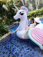 DHL / Fedex Ship Adult's Summer Inflatable Floats Tubes Swim Ride-On Pool Beach Toys Inflável Water Sports Natação Floating Rainbow Horse