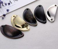 metal kabin kulpları toptan satış-Vintage Kabuk Şekli Çekme Kolu Kabine Kolları Retro Metal Mutfak Çekmece Dolap Kapı Kolları Mobilya Kolları